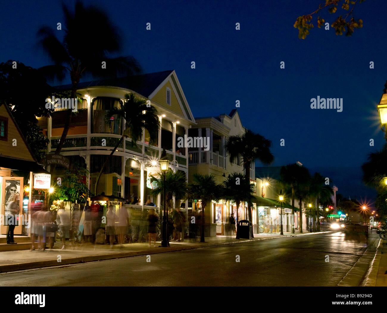 Duval Street Key West FL at night - Stock Image