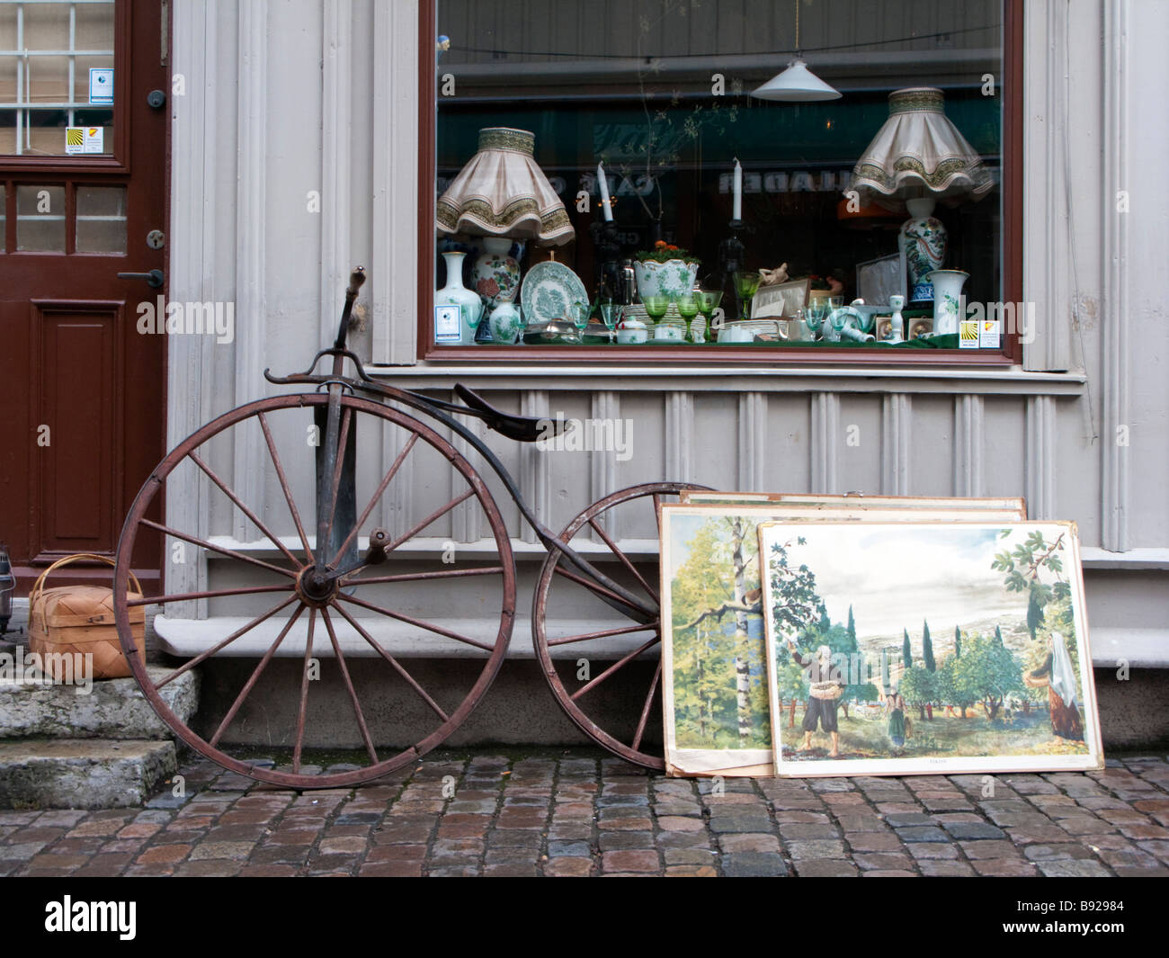 Antique shop on Haga Nygata street in old district of Haga in Gothenburg Sweden - Stock Image