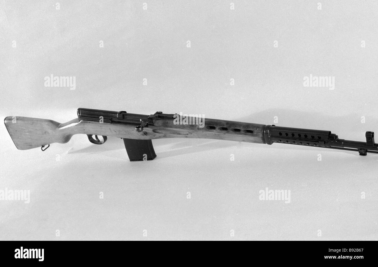 Tokarev carbine date of design 1935 from the stocks of the Central Museum of the Soviet Armed Forces - Stock Image