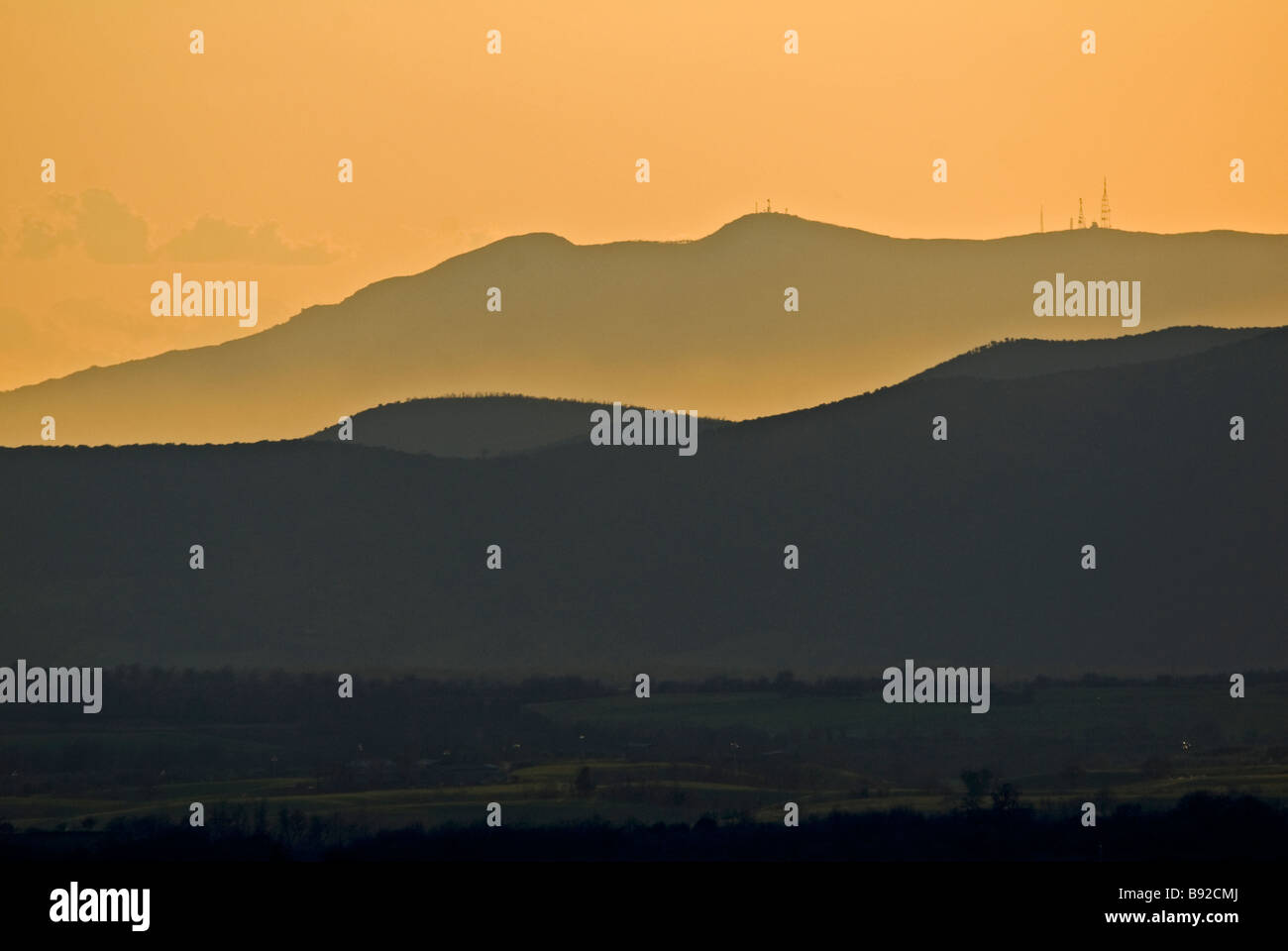 promontory Argentario at sunset - Italy - Stock Image