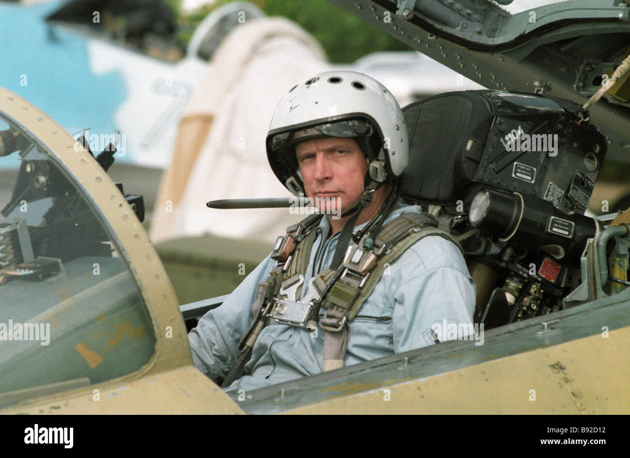 Test pilot in the cabin of the SU 37 during the MAKS 97 International Air Show - Stock Image