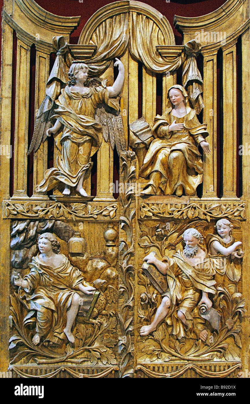 Holy gates wood gilt 18th century The exhibition Ancient Saints Monuments of Orthodox Christianity from the Art - Stock Image