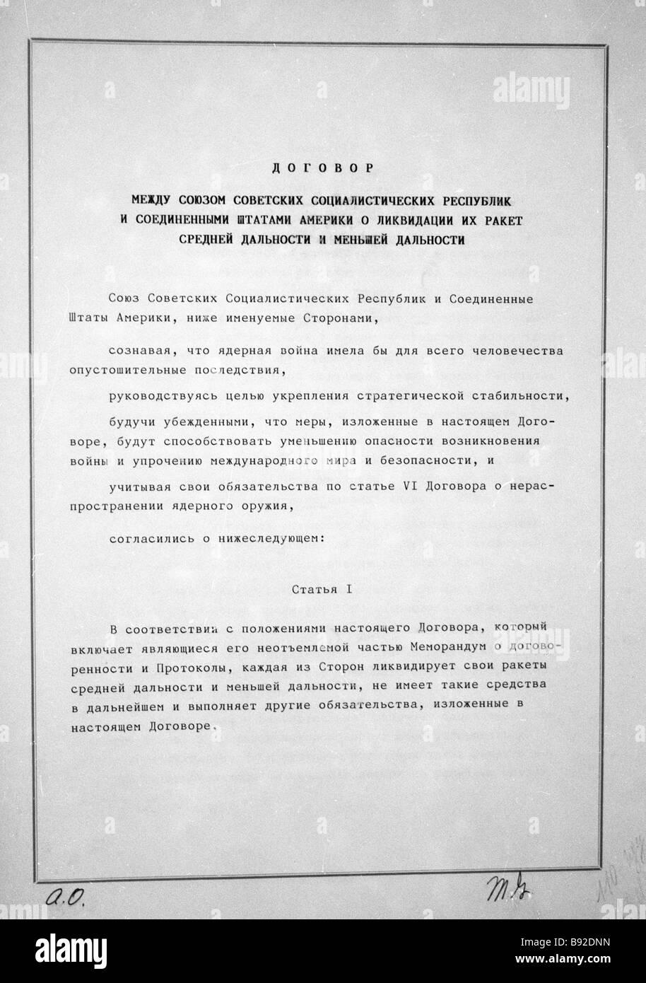 Soviet U S INF Intermediate Range Nuclear Forces Treaty on eliminating medium range and shorter range missiles was - Stock Image