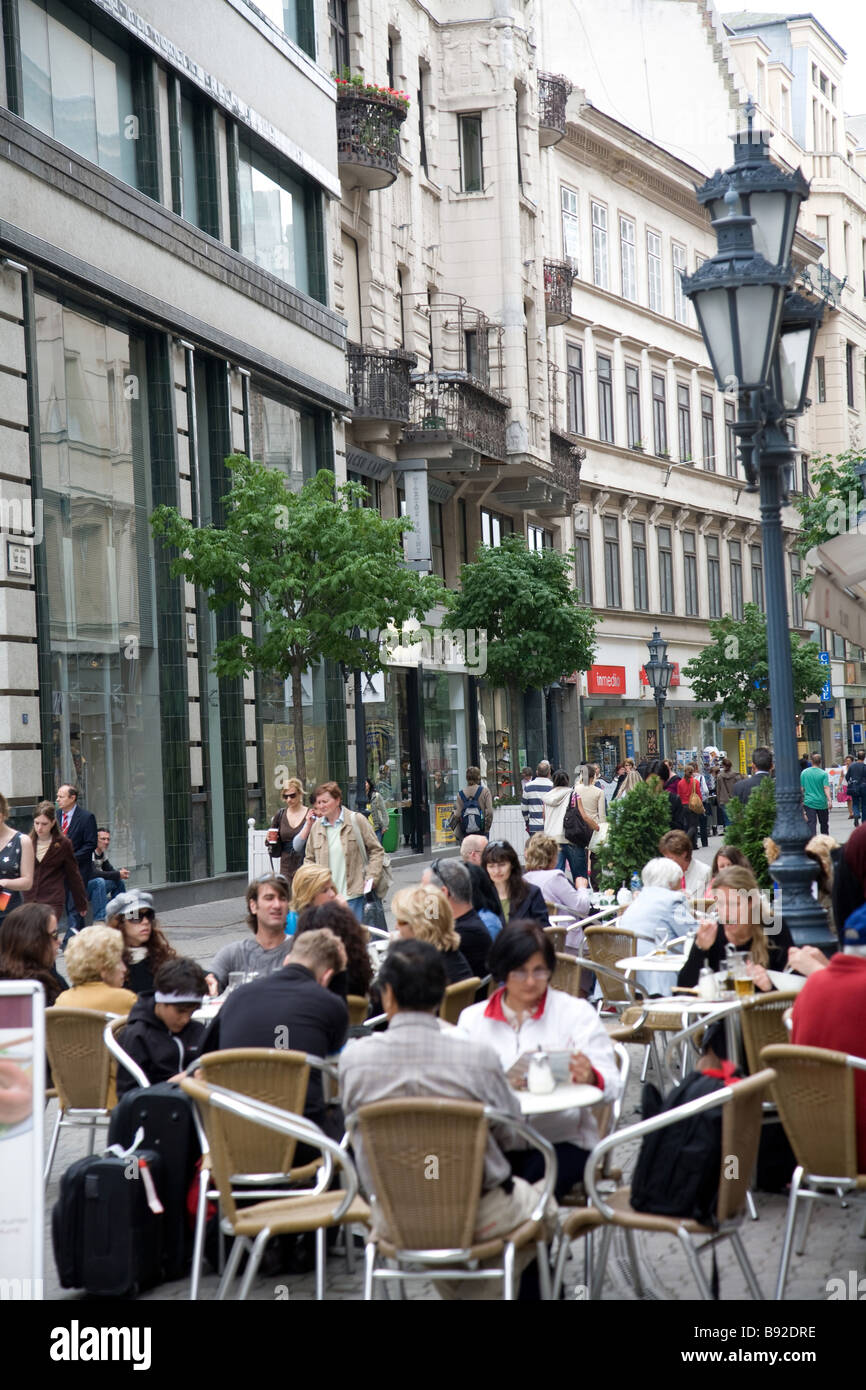 Sidewalk cafe in central Pest Budapest Hungary - Stock Image