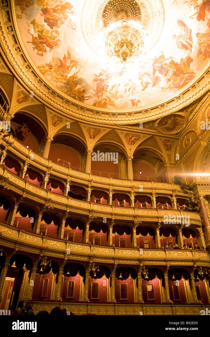 Interior of the Hungarian State Opera House Magyar Allami Operahaz in Budapest - Stock Image