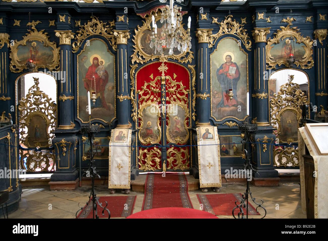 Ornate interior of Serbian Orthodox Church Blagovestenska Templom in Szentendre near Budapest - Stock Image
