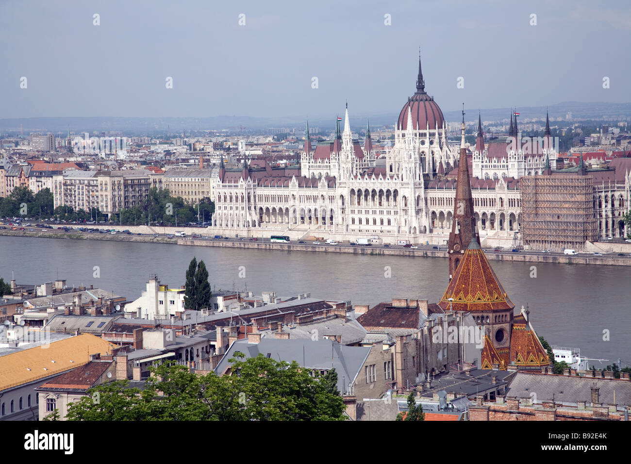 Hungarian Parliament on the banks of the Danube in Budapest as seen from Castle Hill - Stock Image