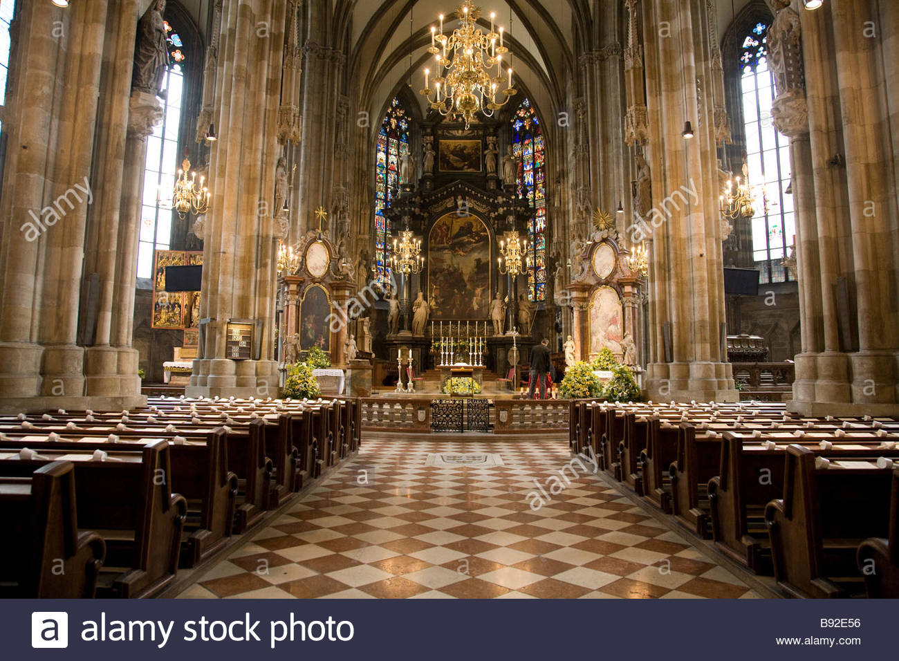 The interior of St Stephens Cathedral Stephansdom in the centre of Vienna Austria - Stock Image