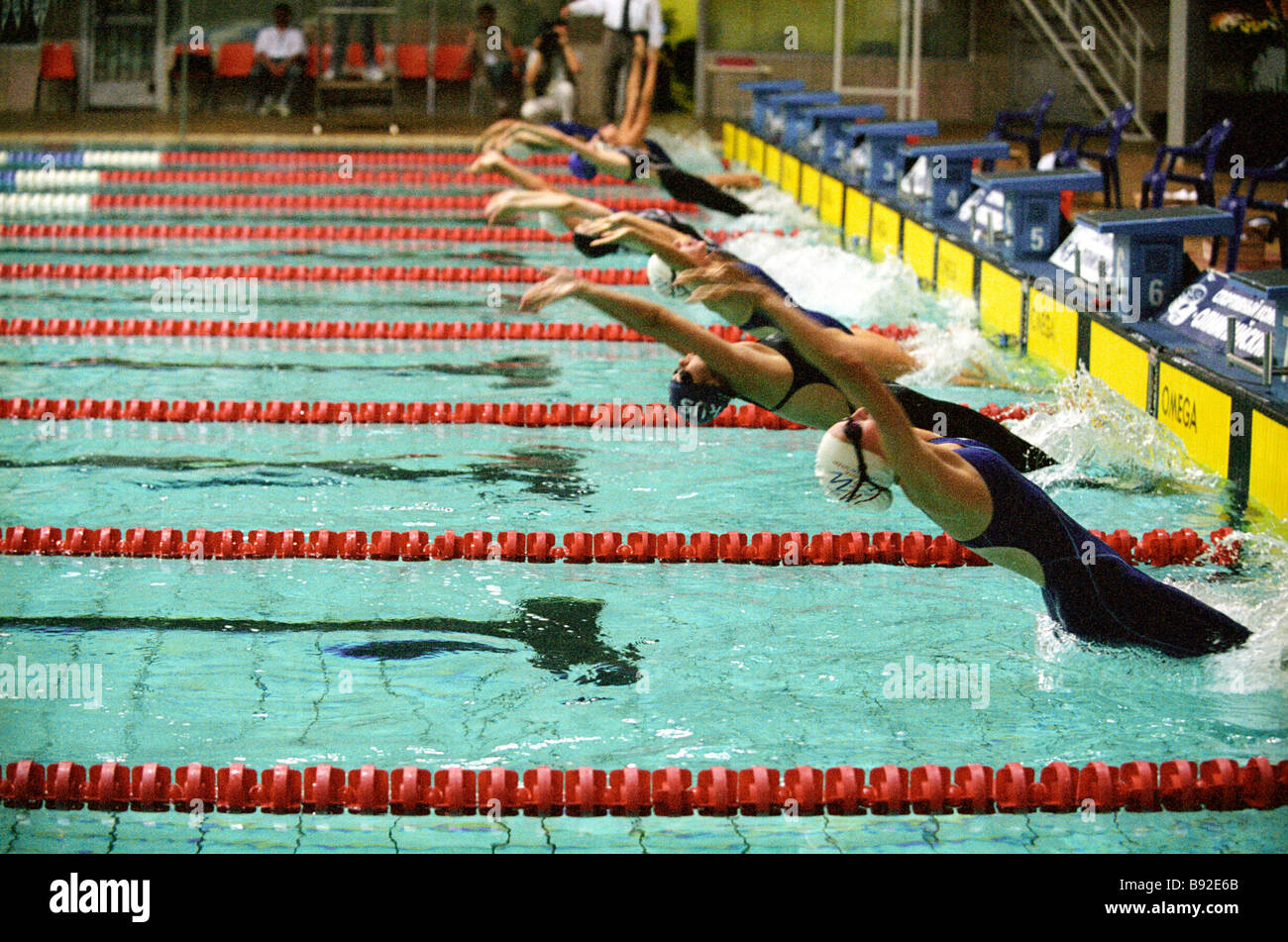Girls participants in in the 4x100m swim relay at the Moscow Utah international youth championship The Muscovites - Stock Image