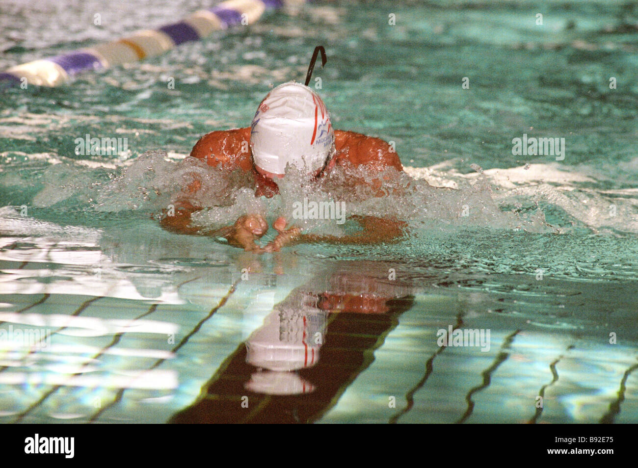 A participant in the 4x100m swim relay at the Moscow Utah international youth championship The Muscovites won 87 - Stock Image