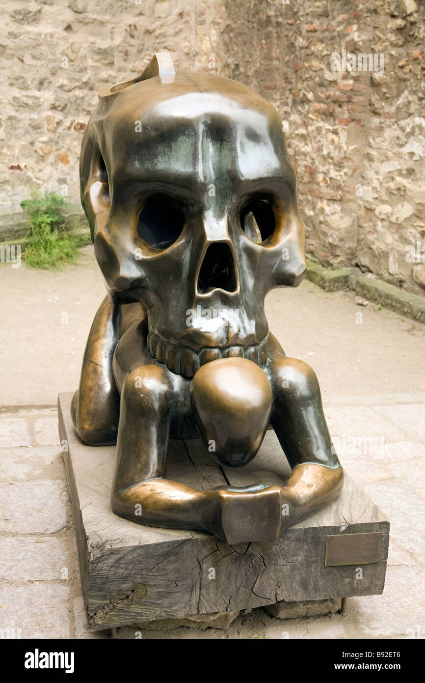 Work of art Parable with Skull in the grounds of Prague Castle Prague Czech Republic - Stock Image