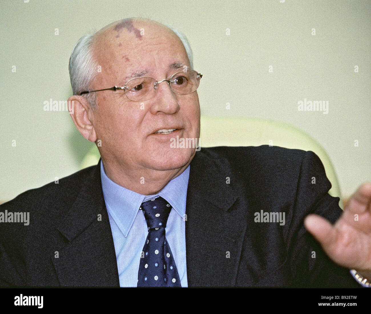 Mikhail Gorbachev during the presentation of the book Boundaries of Globalization a combined work of collective - Stock Image