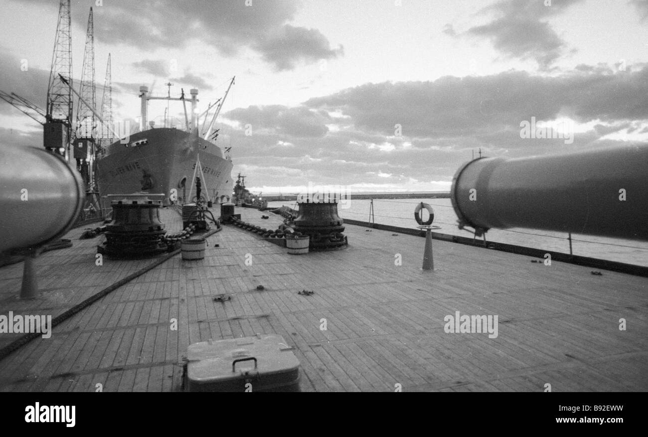 A Soviet warship deck - Stock Image