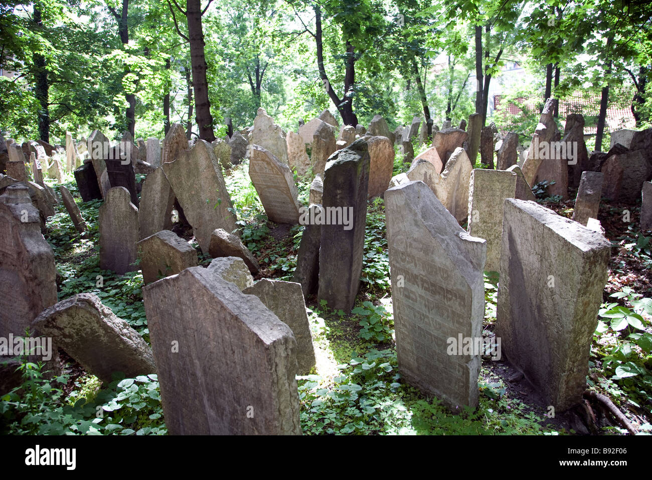The Old Jewish Cemetery in Prague Czech Republic - Stock Image