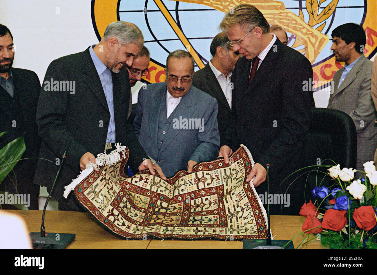 Vyacheslav Fetisov head of State Sport Committee and Mohsen Mehralizadeh Iran s Vice President and Head of Physical - Stock Image