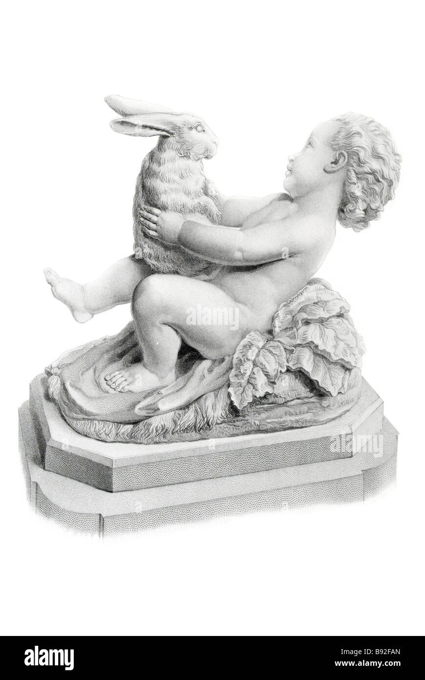 Sportive innocence G Burnard Chubby boy hercules infant rabbit humor Sculpture marble artwork shaping light stone - Stock Image
