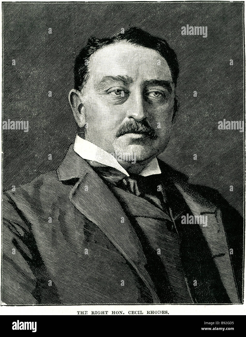 Cecil John Rhodes DCL (5 July 1853 – 26 March 1902) was an English-born businessman, mining magnate, and politician - Stock Image