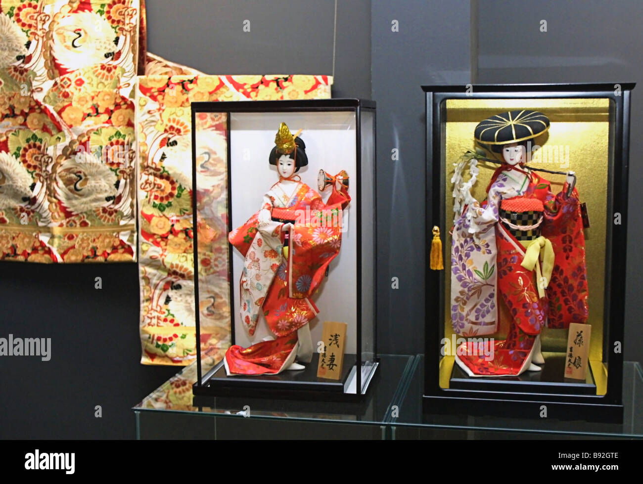 Traditional festive panels and porcelain statuettes at the Japanese Ukiyo e Art of the 2nd Half of the 19th Century - Stock Image