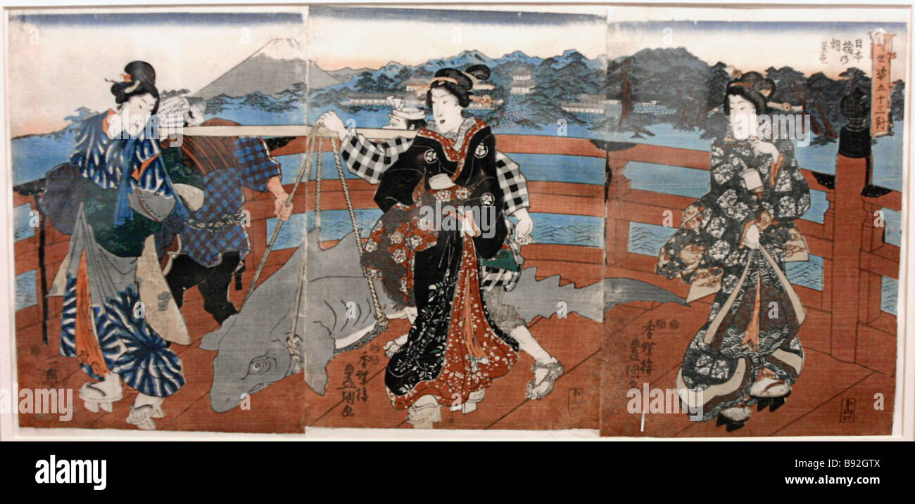 Utagawa Kunishida III The second year of the Meiji era 1868 View of the famous Nihonbashi Bridge Three women looking - Stock Image
