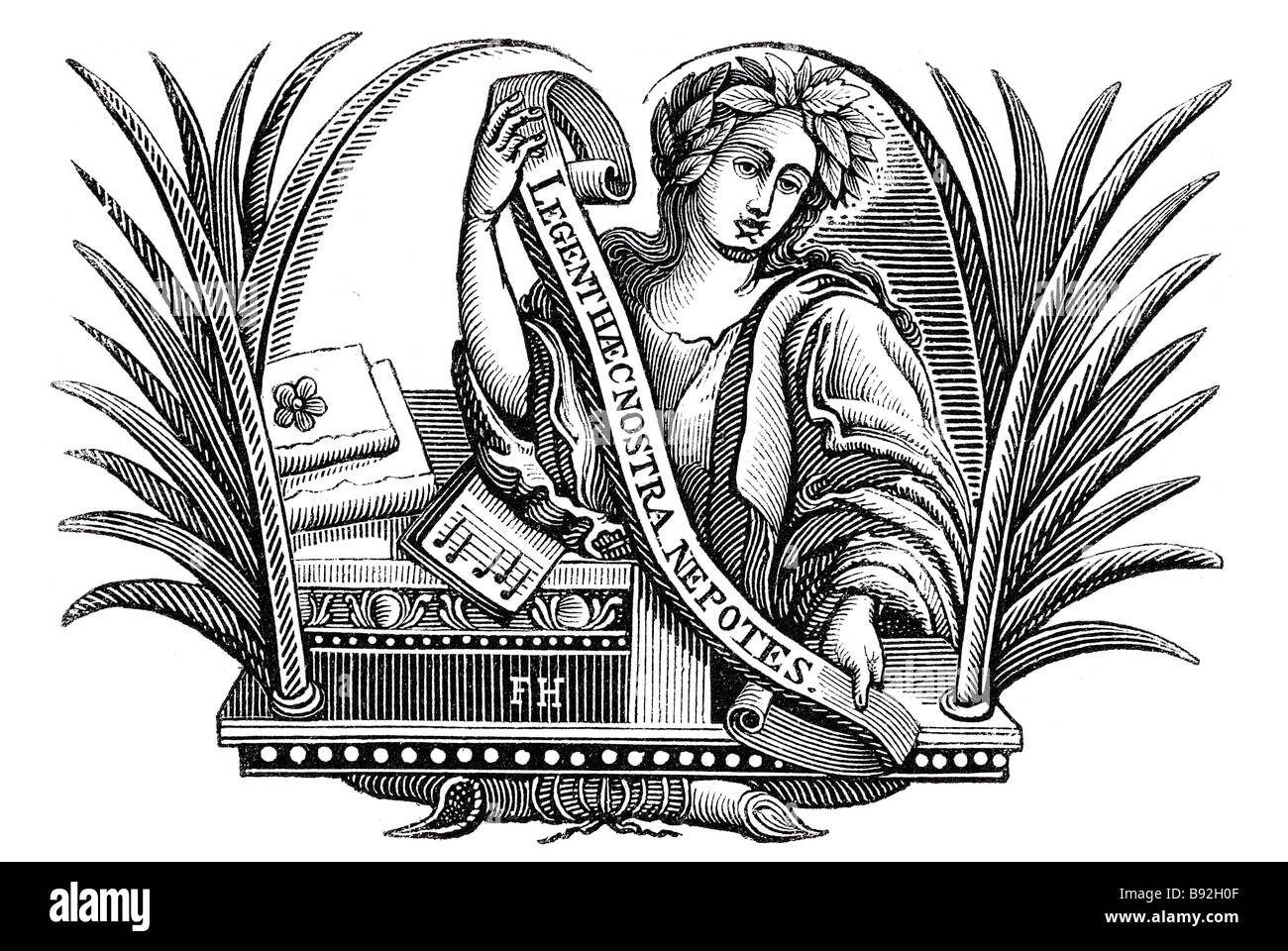 palm leaves man period dress banner scripture music books leave crown Samuel Croxall (died 1752), Poet and literary - Stock Image