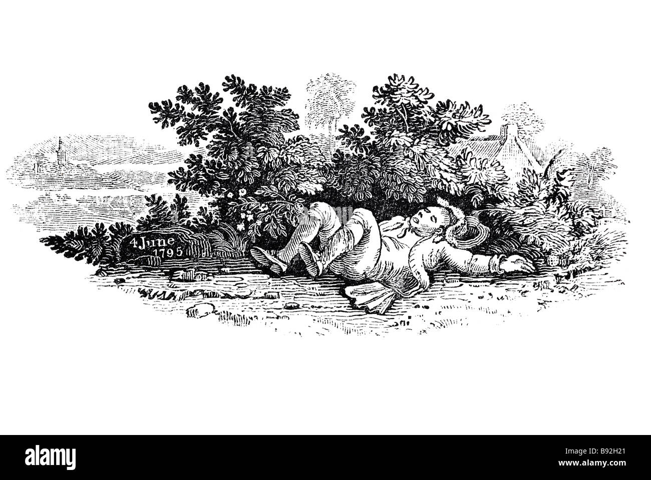 a traveller drinking watering old miller lying asleep bushes behind tipsy drunk date stone drinking king's birthday - Stock Image
