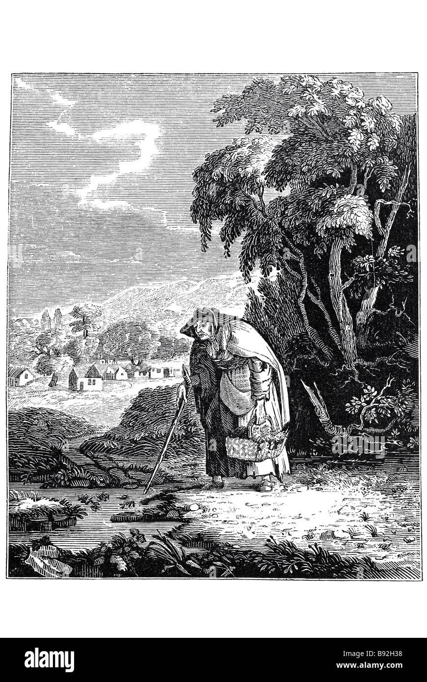 sad historian old man woman walking river stream wood field countryside villiage outside summer shawl basket gathering - Stock Image