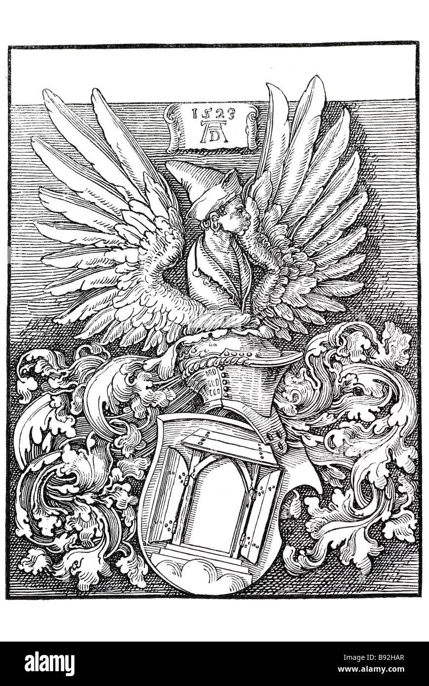 ducer's arms sheild coat of arms door wings helmet head torso wood carving block period dress scripture plates - Stock Image
