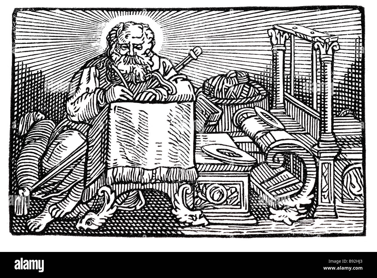 st. paul writing sword weaver loom saint wood cuts tent maker man working god religion Hans Holbein the Younger - Stock Image