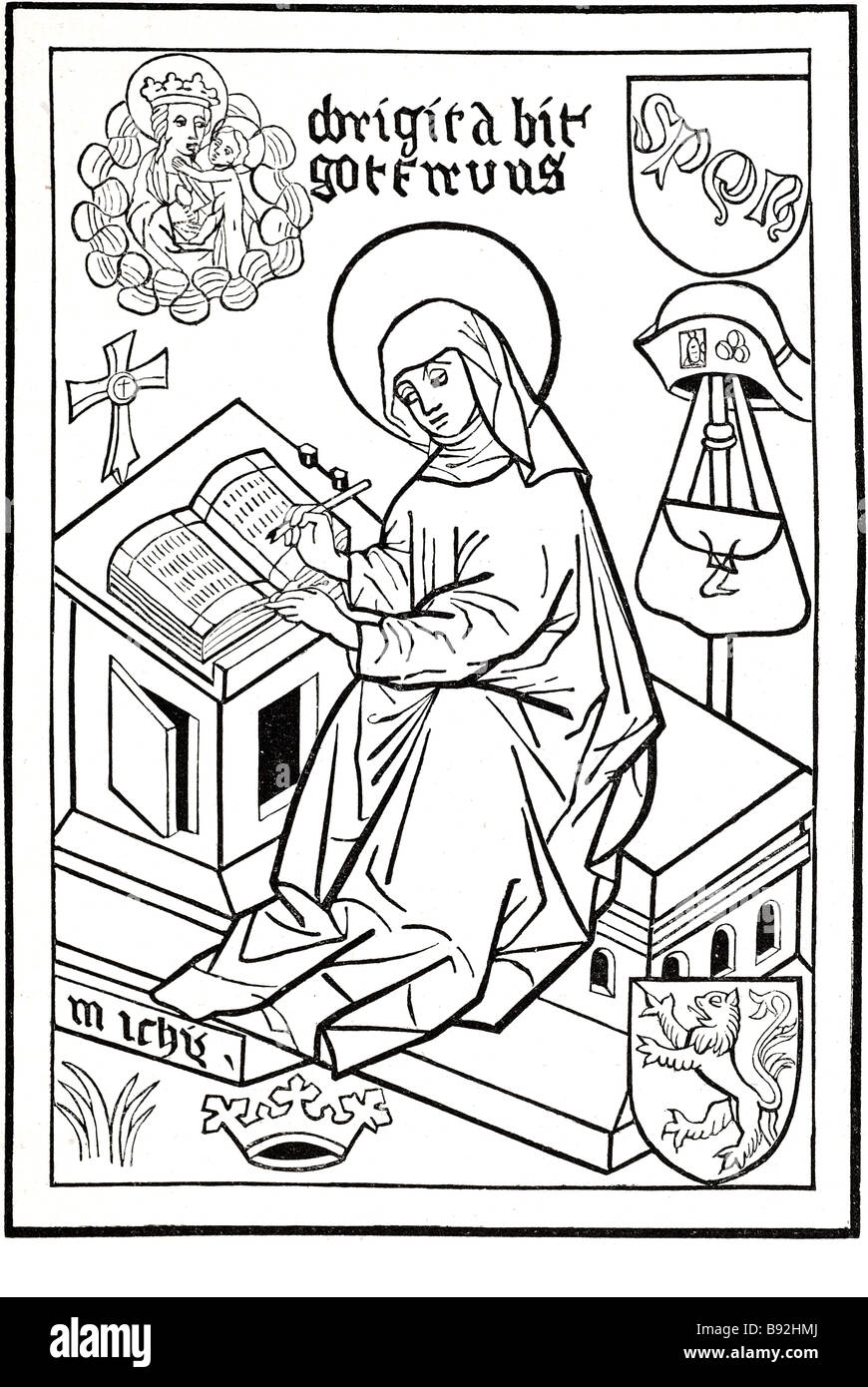 st. bridget of sweden 1302 1373 virgin figure christ Birgitta Birgersdotter (1303 – July 23, 1373), later known - Stock Image