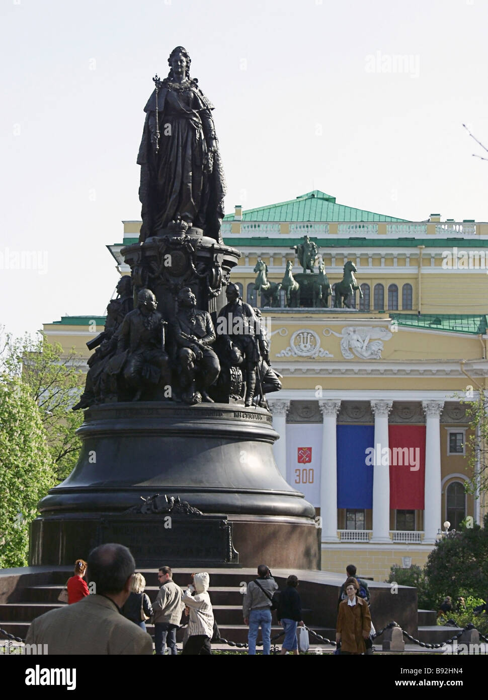 Sculptor Mikhail Mikeshin s 1873 monument to Empress Catherine the Second in the gardens in front of the Alexandrinsky - Stock Image