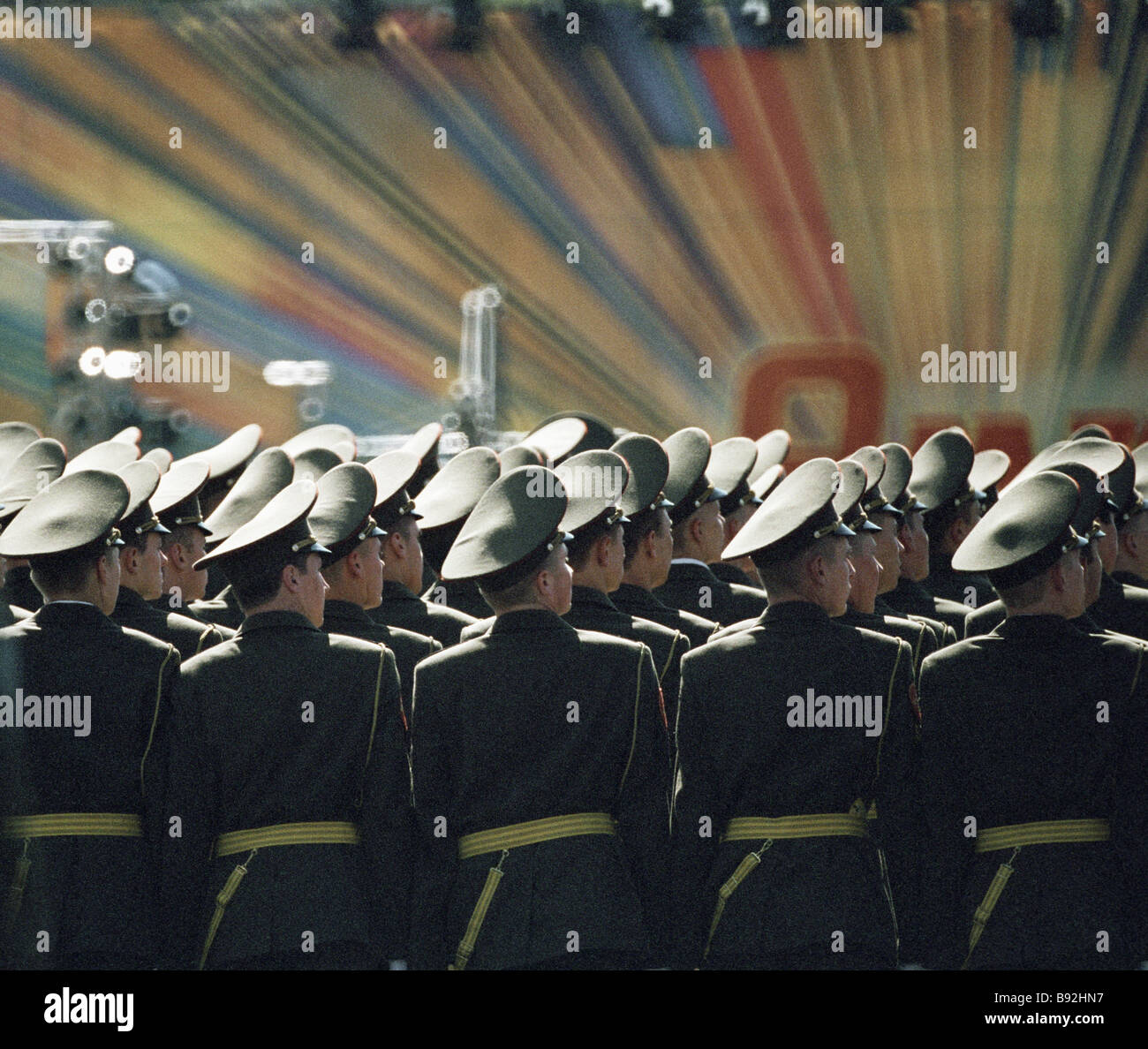 Servicemen parade dedicated to the 58th V Day anniversary Red Square - Stock Image