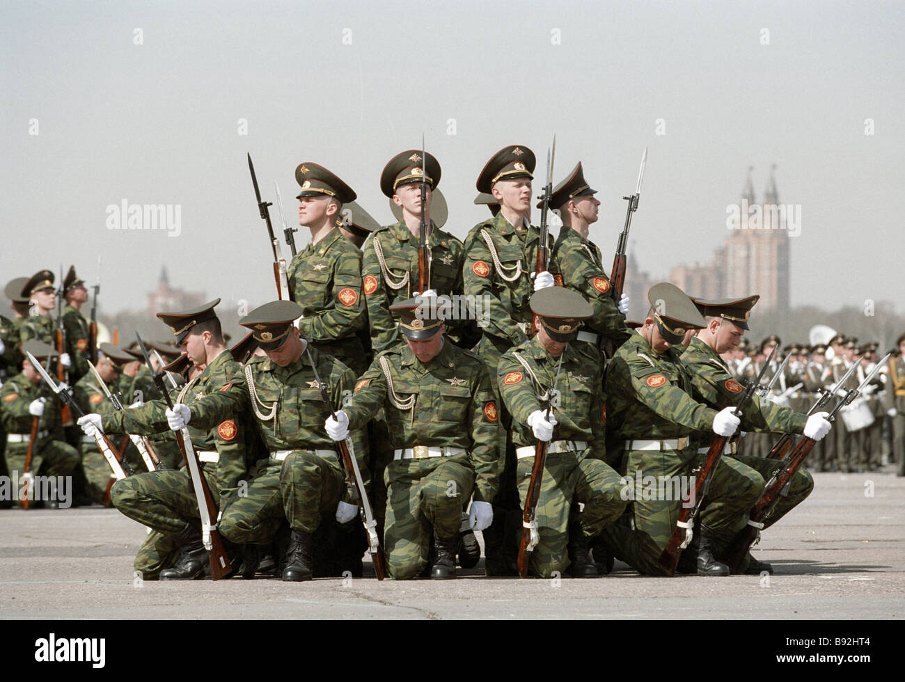 Dress rehearsal of the VE Day military parade Guard of honor performing - Stock Image