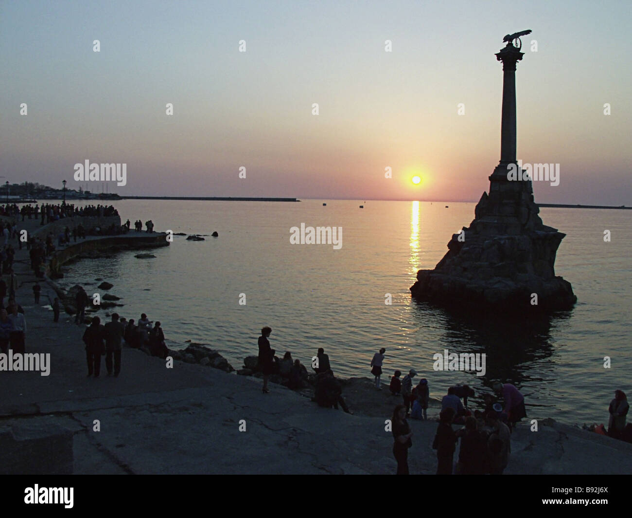 Monument to sunk ships unveiled in Sevastopol in 1905 to commemorate 50 years since the first defense of the city - Stock Image