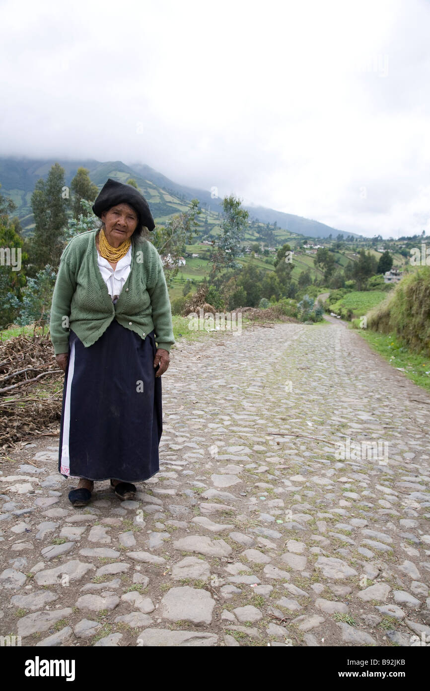 Elderly Quichua woman, Otavalo Province, Ecuador - Stock Image