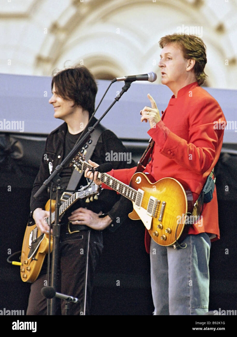 Legendary singer and composer Paul McCartney performs on Moscow s Red Square for the first time in his 40 year career - Stock Image
