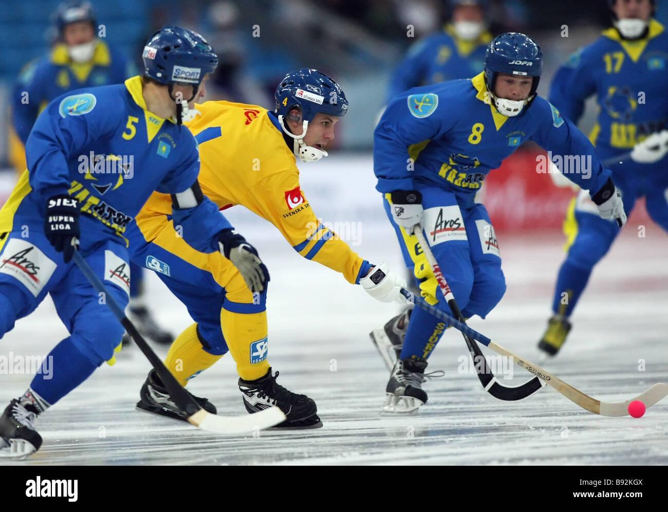 From left Vladislav Novozhilov Kazakhstan Per Helljors Sweden and Andrei Morokov Kazakhstan playing in a Sweden - Stock Image