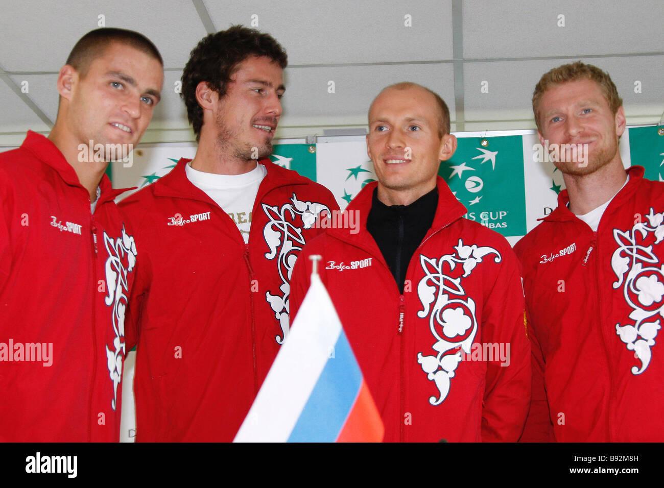 Russian tennis team members Mikhail Youzhny Marat Safin Nikolai Davydenko and Dmitry Tursunov left to right at a - Stock Image