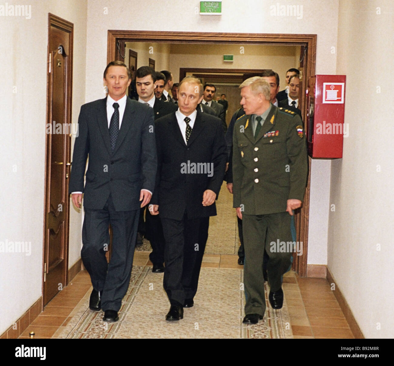 Russian President Vladimir Putin center accompanied by Defense Minister Sergei Ivanov left visited the Museum of - Stock Image