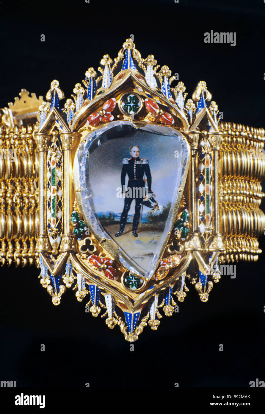 A Neo Gothic bracelet with a flat diamond preserved at the Russian Diamond Depository Gold color enamel emeralds - Stock Image