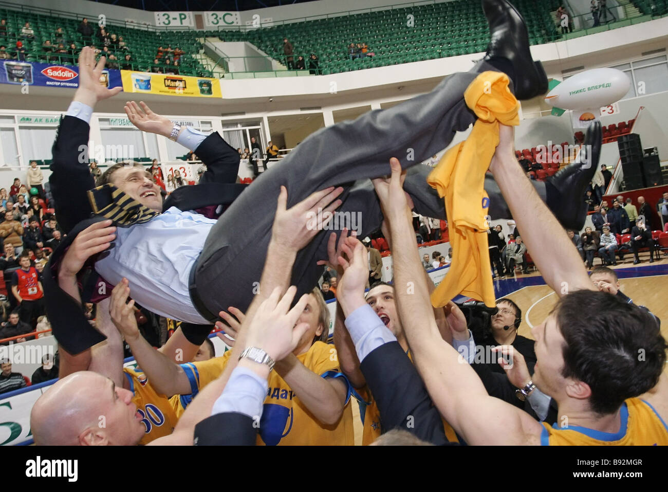 Khimki Moscow Region won CSKA Moscow 85 67 in a Russia Cup basketball match in Kazan The jubilant team tossing Kestutis - Stock Image
