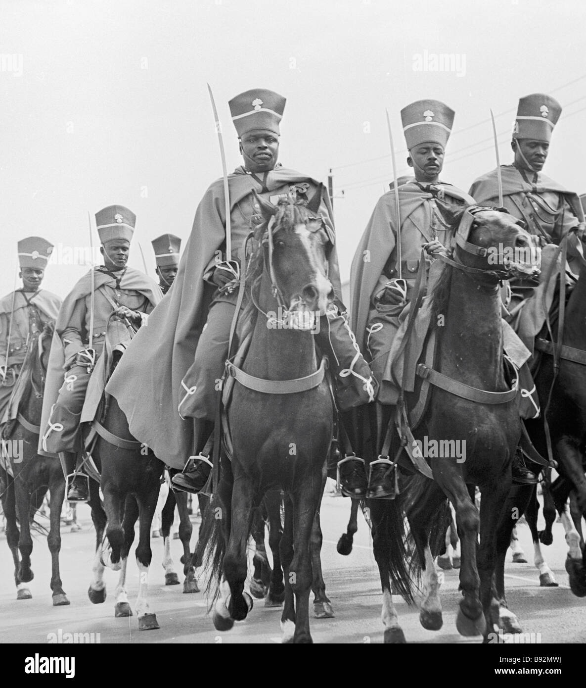Mounted guard during military parade in Senegal - Stock Image