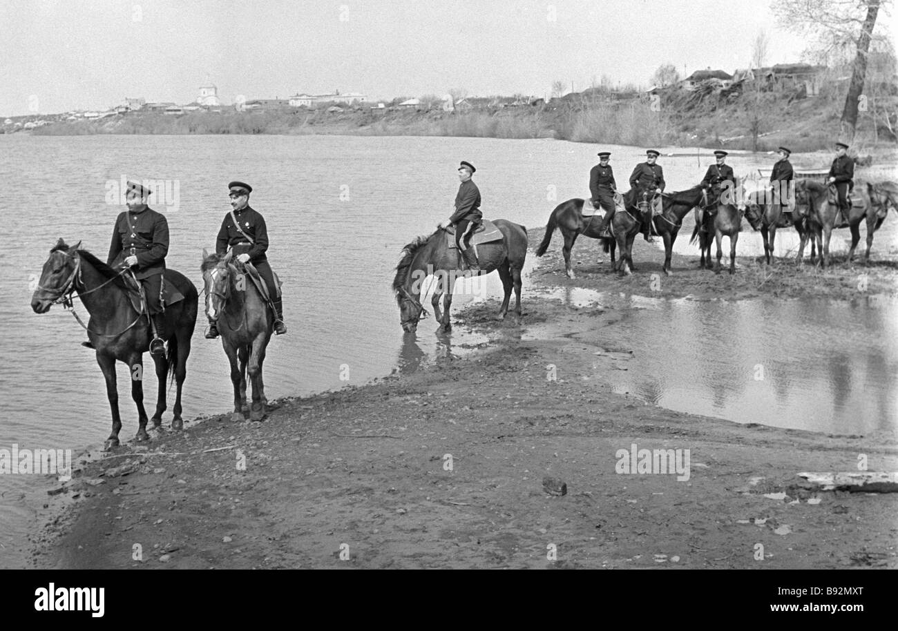 Mounted platoon of the Don Cossacks - Stock Image