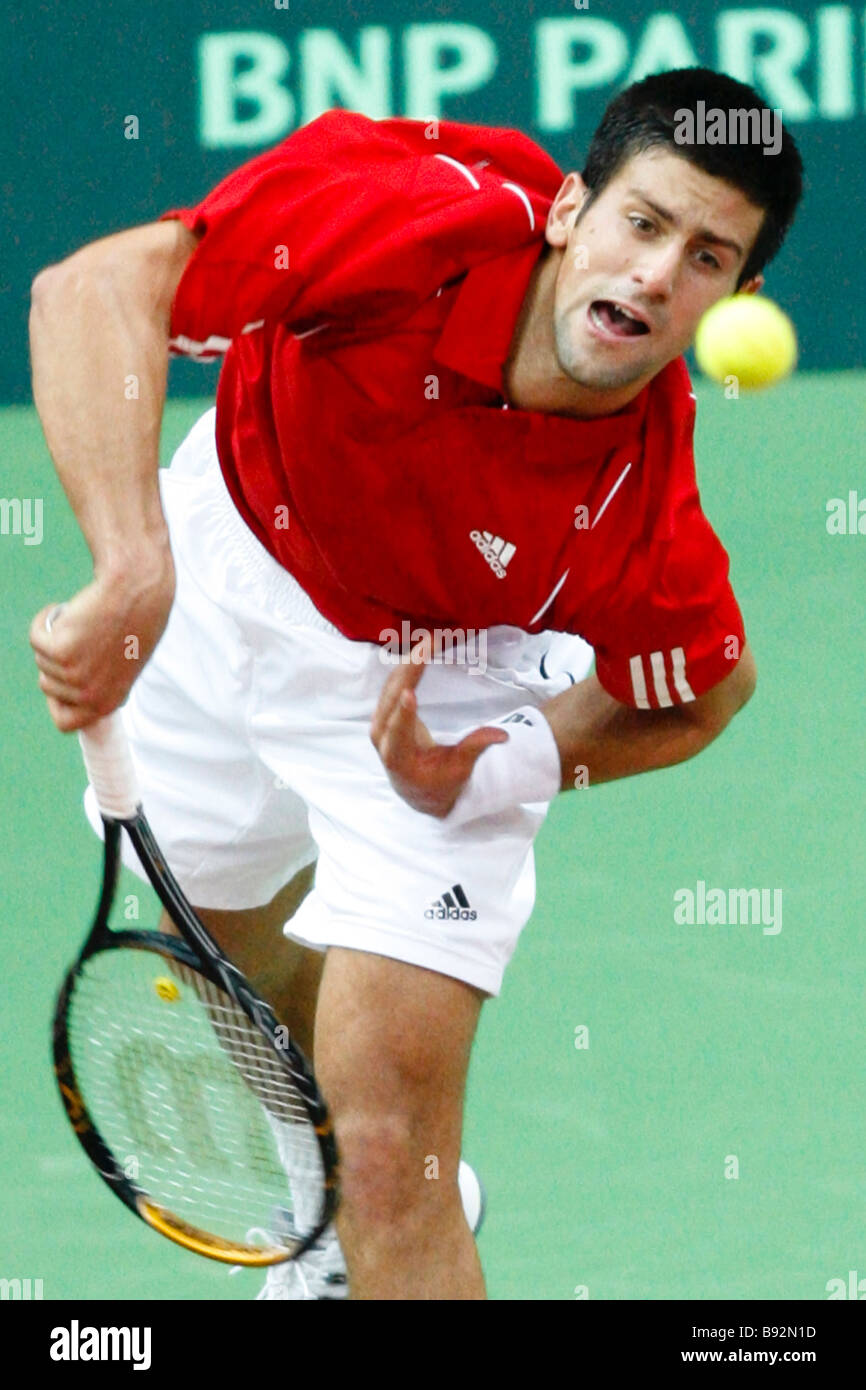 Novak Djokovic of Serbia during the Russia v Serbia Davis Cup match - Stock Image