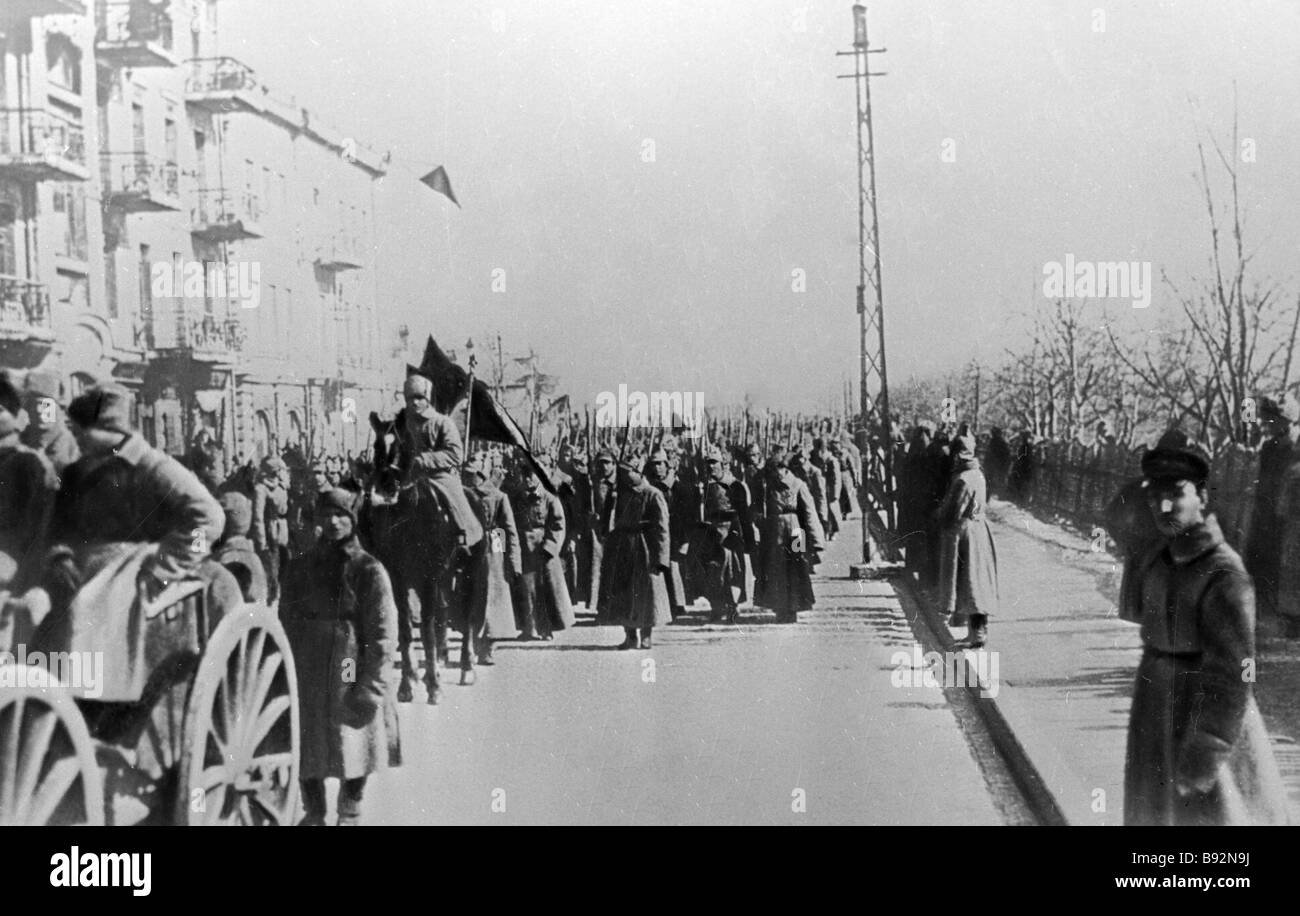 People s revolutionary army of the Far Eastern republic in a street of Vladivostok - Stock Image