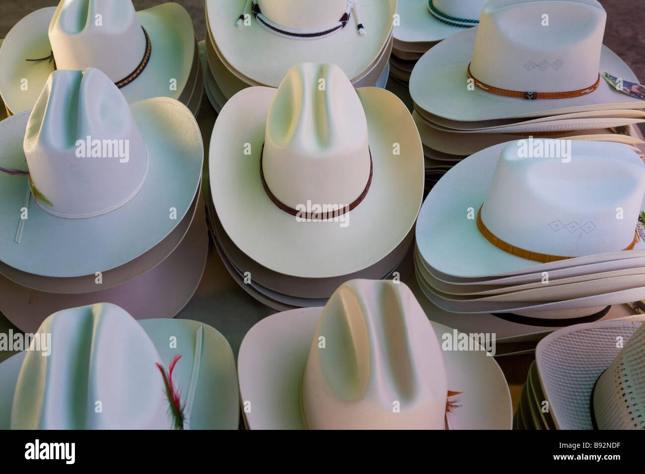 Hats on market stall at Tlacolula Oaxaca, Oaxaca State, Mexico - Stock Image