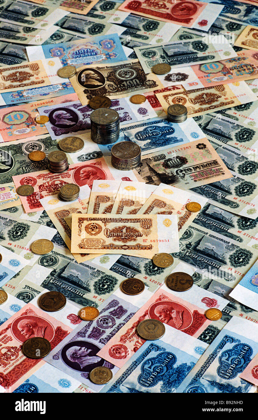 Soviet banknotes and coins of 1961 92 - Stock Image