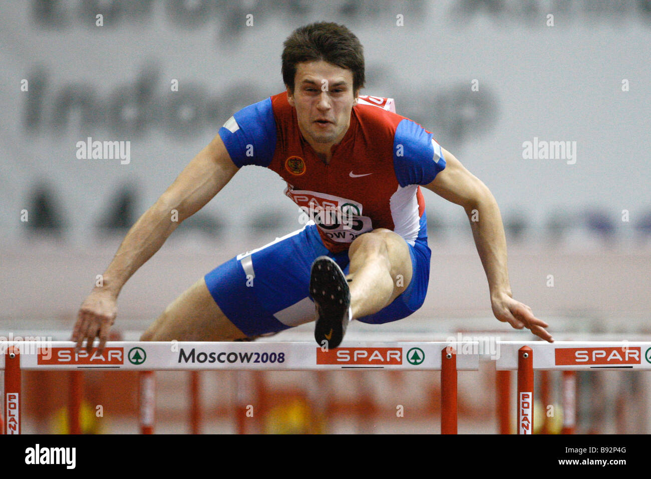 Russian athlete Yevgeny Borisov set the national record in 60 hurdling 7 44 sec at the European track and field - Stock Image