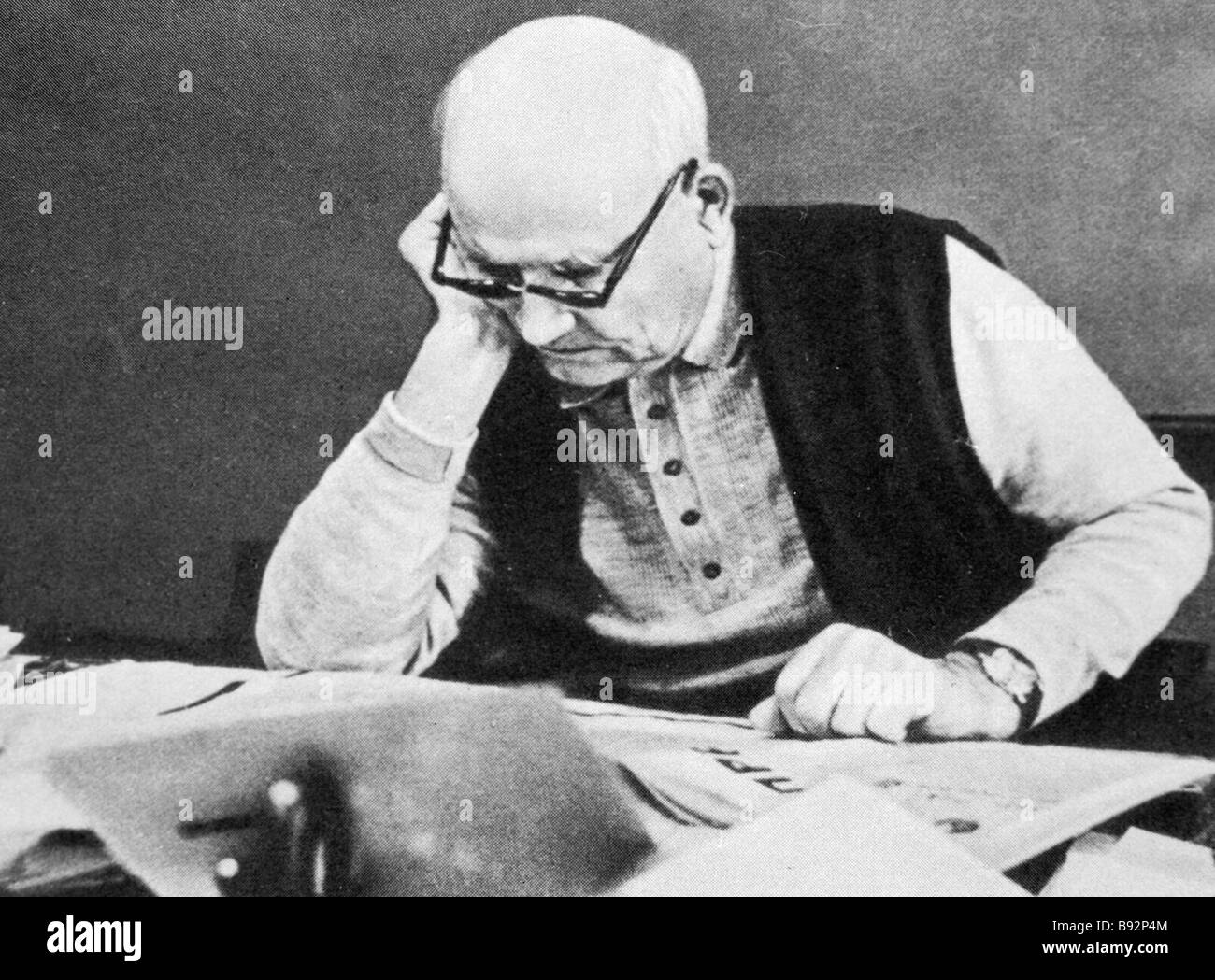 Two time Hero of the Soviet Union Marshal Ivan Konev at his desk - Stock Image