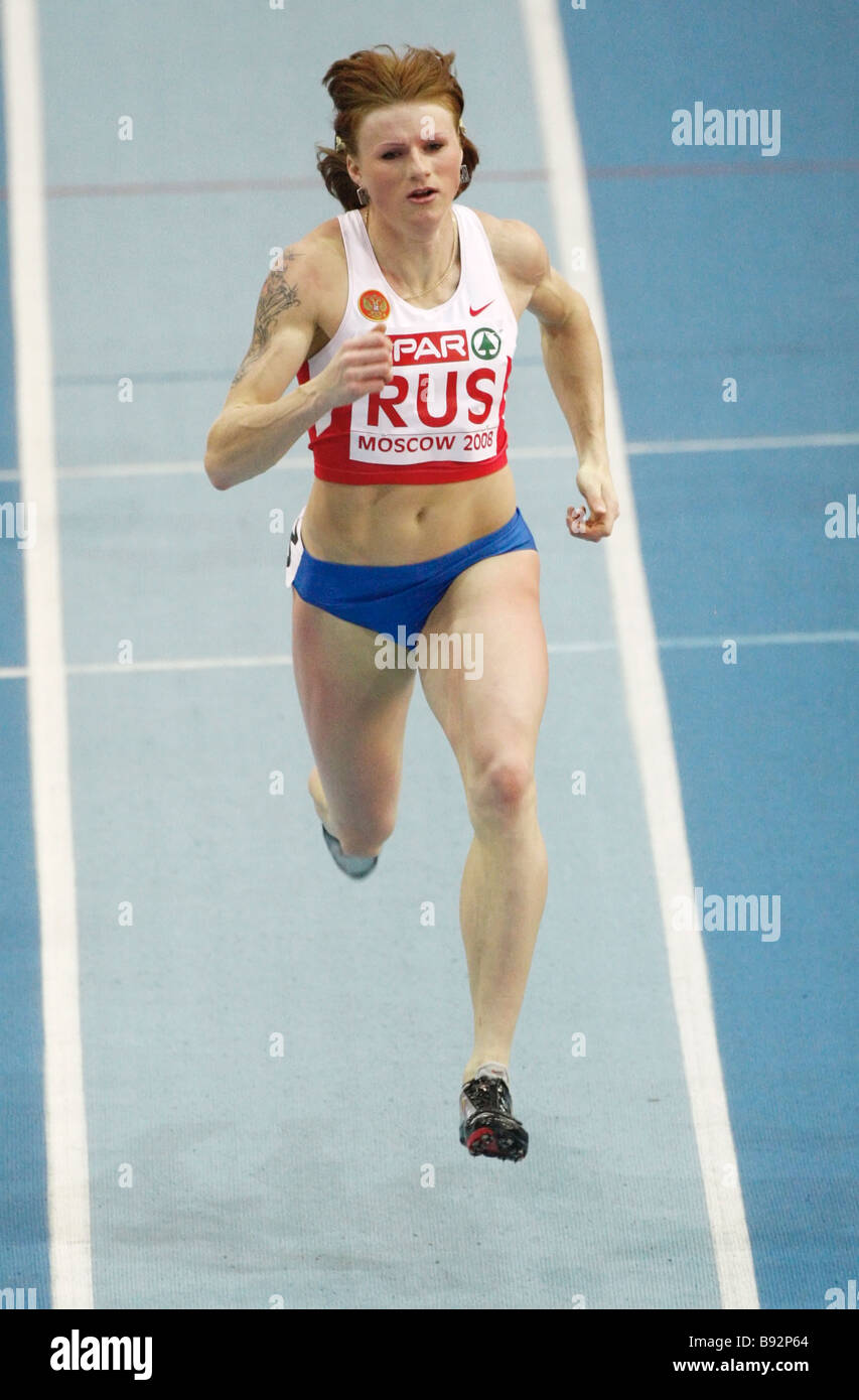 Olesya Zykina of Russia won women s 400 m final at the European track and field Cup at the CSKA Indoor Stadium Manezh - Stock Image