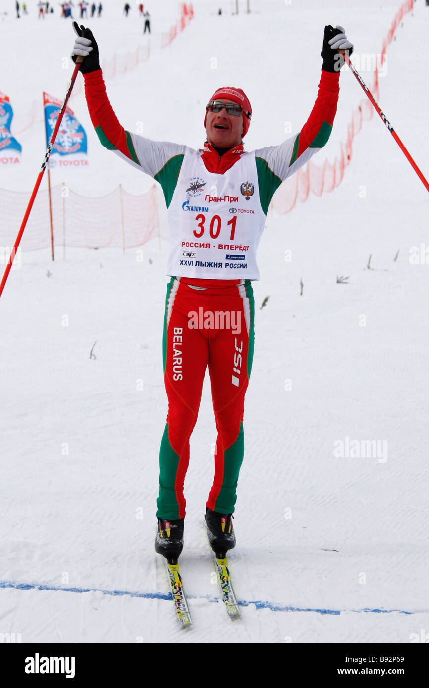 Alexei Ivanov of Belarus the 50 km race winner The finals of the skiing race Ski Track Of Russia 2008 were held - Stock Image